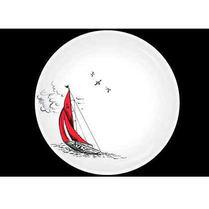 """""""Sail Away"""" Plate with Red Sailing Boat Design"""