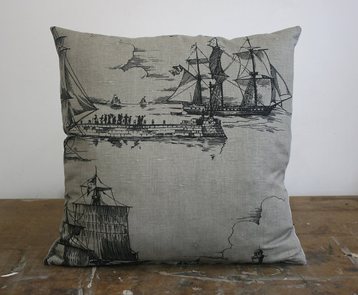 Sailing Ships Cushion from Nice Work Vintage