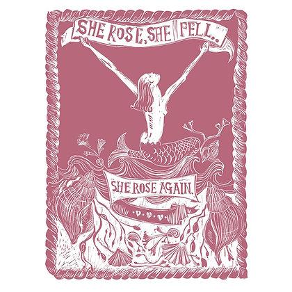 """She Rose, She Fell, She Rose Again"" in Pink - Print by Jo Oakley"