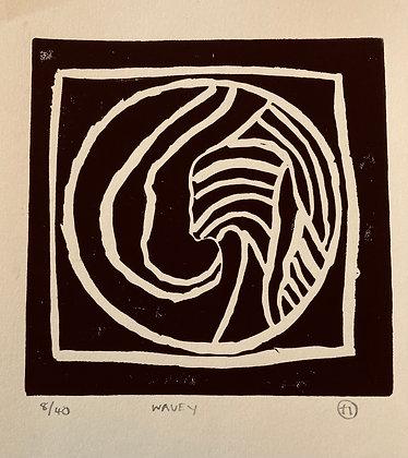 """""""Wavey"""" Linocut Print by Hannah Oakley"""