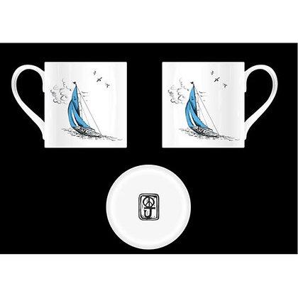 """Sail Away"" Mug in Blue Boat Design"