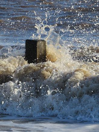 Waves splash on Skegness beach, Go Be Wild, Barbara Copperthwaite