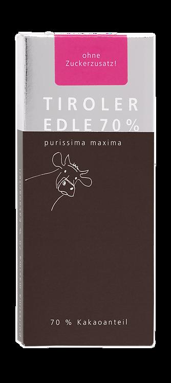 Tiroler Edle | purissima maxima 70% | Schokolade ohne Zucker