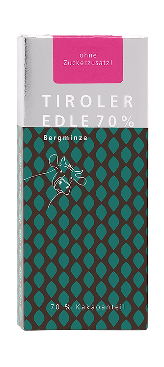 Tiroler Edle | purissima maxima 70% mit Bergminze | Schokolade ohne Zucker