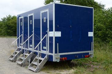 exterior of 4 person shower trailer