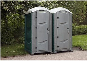 portable toilets at an event