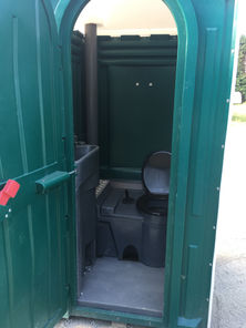Inside a construction portable toilet