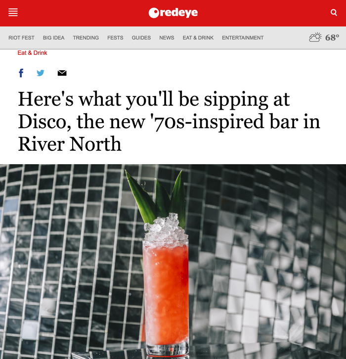 Here's what you'll be sipping at Disco, the new '70s-inspired bar in River North