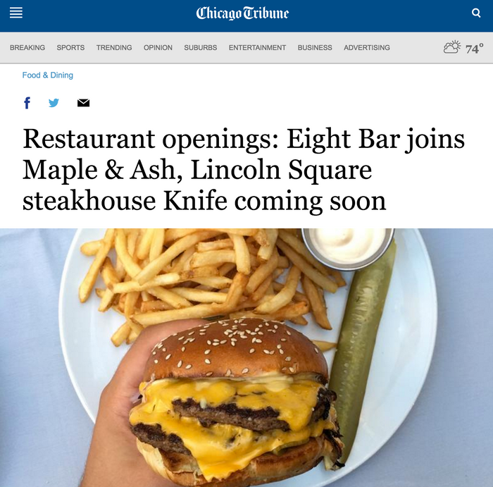 Restaurant openings: Eight Bar joins Maple & Ash, Lincoln Square steakhouse Knife coming soon