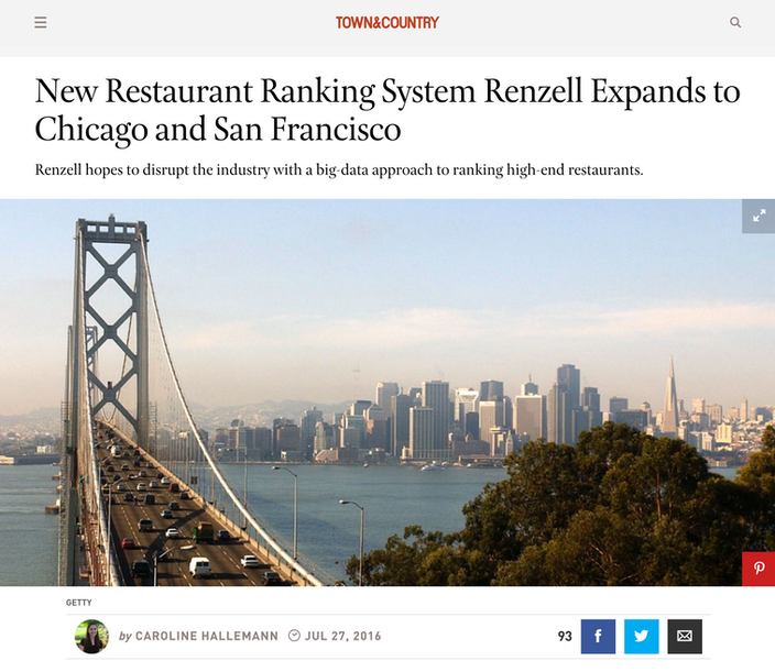 New Restaurant Ranking System Renzell Expands to Chicago and San Francisco