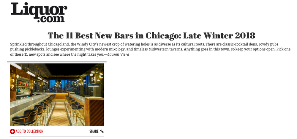 BEATNIK one of The 11 Best New Bars in Chicago