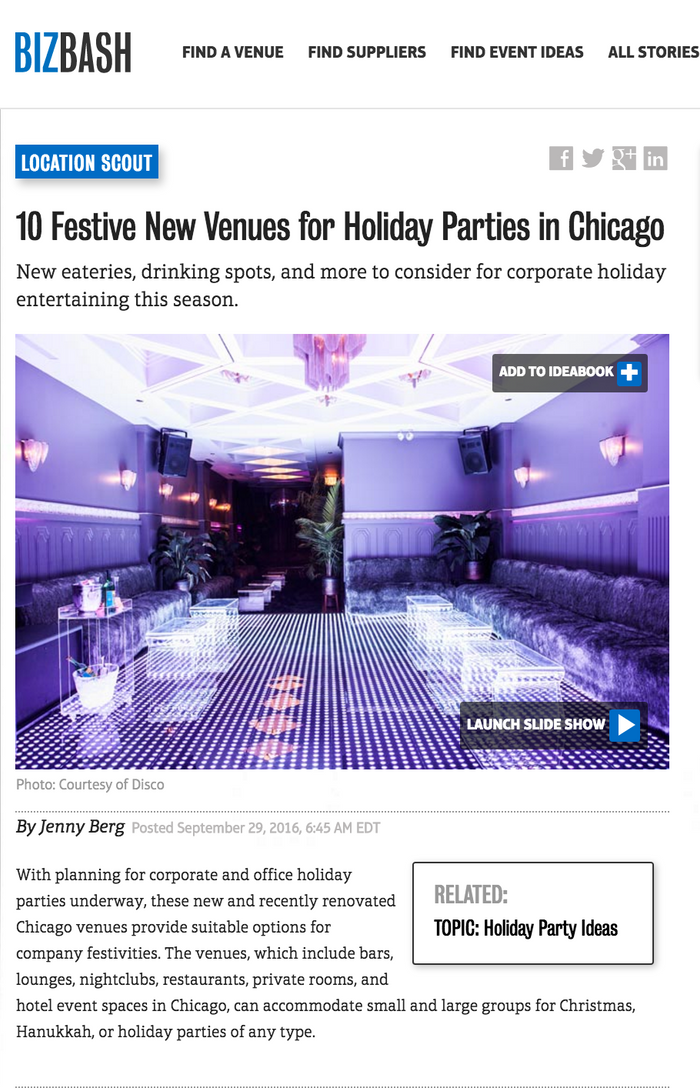 10 Festive New Venues for Holiday Parties in Chicago