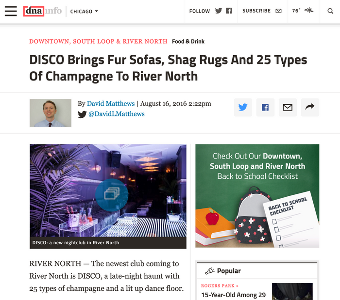 DISCO Brings Fur Sofas, Shag Rugs And 25 Types Of Champagne To River North