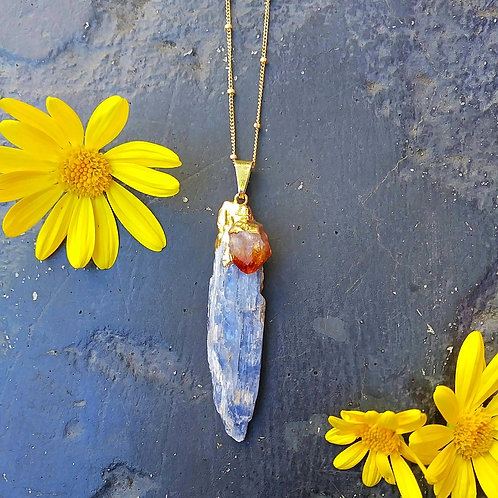 EVOLVE BLUE KYANITE-CITRINE NECKLACE
