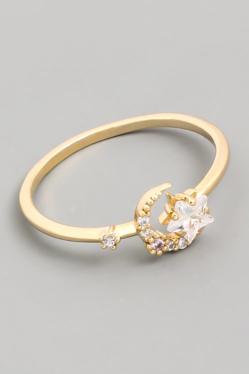 THE MOON AND THE STARS DAINTY RHINESTONE RING