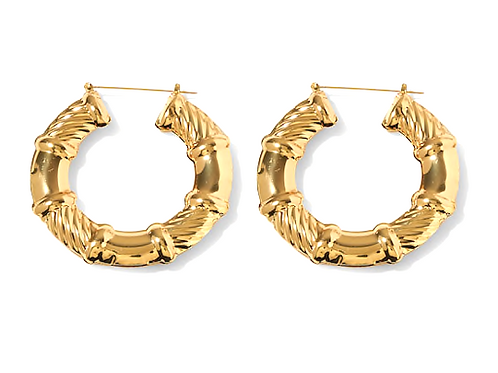 AROUND THE WAY GIRL BAMBOO HOOP EARRINGS