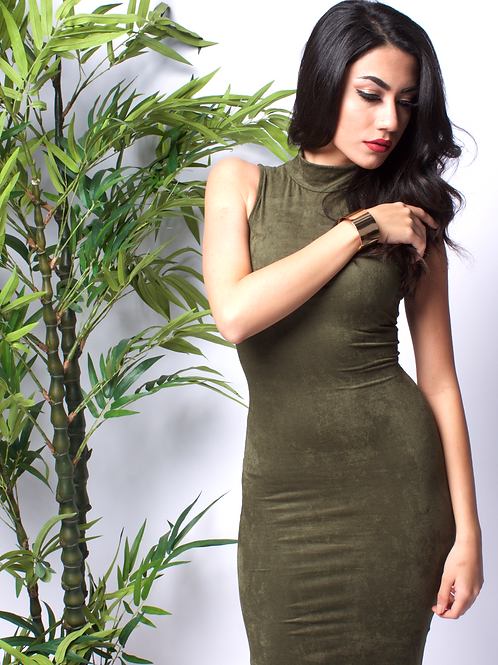 TAKE ME OUT SUEDE OLIVE DRESS