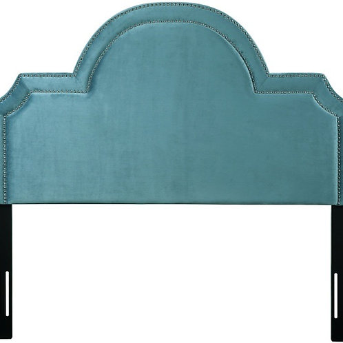 Laylah Queen Headboard in Sea Blue Velvet