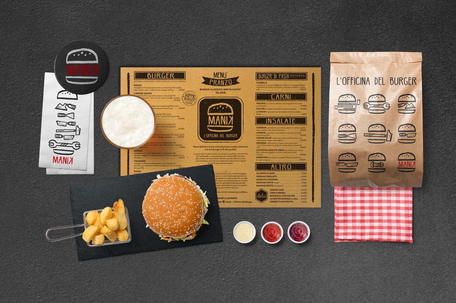 branding MANIK l'officina del burger, sanremo