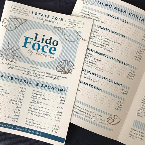 menù e logo per LIDO FOCE, spiagga e ristorante, sanremo