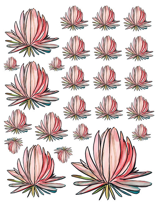Water Lily Super Fun Vinyl Stickers