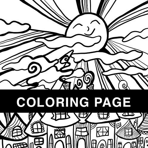 Sunny Village Coloring Page