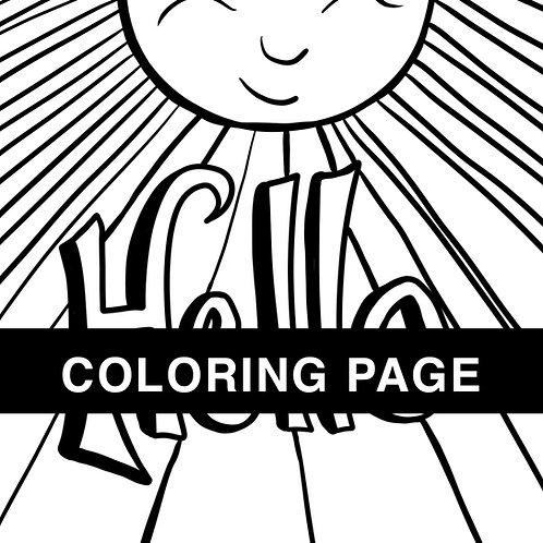Hello Sunshine Coloring Page
