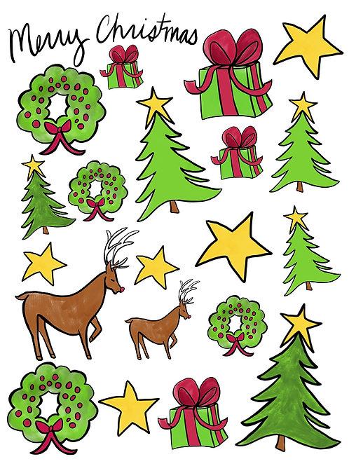 Merry Christmas Vinyl Sticker Set