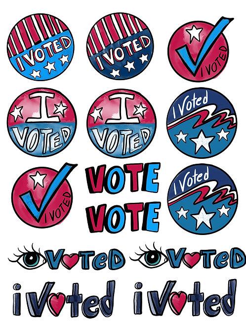 I Voted Super Fun Vinyl Stickers