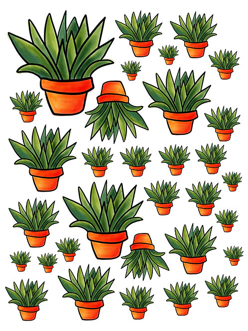 Potted Plant Super Fun Vinyl Sticker Set