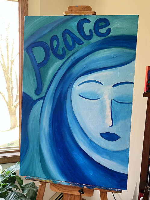 Blue Lady of Peace Painting