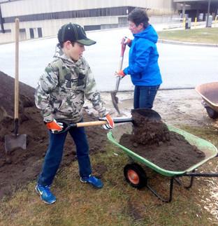Filling wheelbarrow with soil