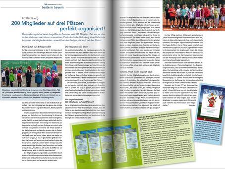 """Der FC Kirchberg Tennis im BTV Magazin """"Bayern Tennis"""" vom November, unter dem Inhalt """"beste in baye"""