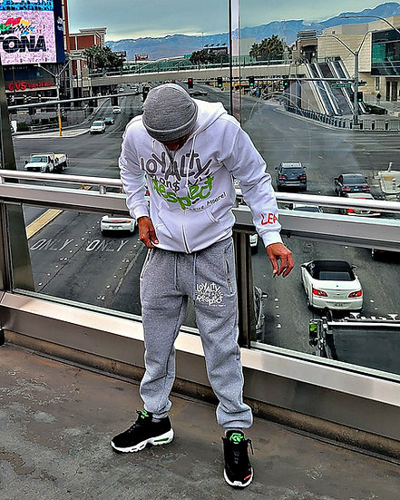 "Loyalty Earns All Respect White/Gray ""Jogging Suit Set"""
