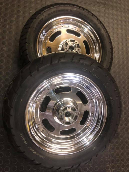 Harley Davidson wheels done in a full face polish