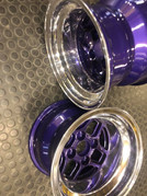 """13""""TOMS racing wheels polished with a deep purple inner"""