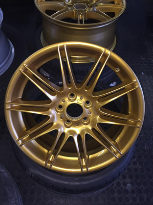 """19"""" BMW 335 wheels tinted and refurbished in JPS gold"""