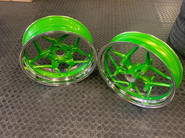 BMW bike rims tinted in a candy green wi