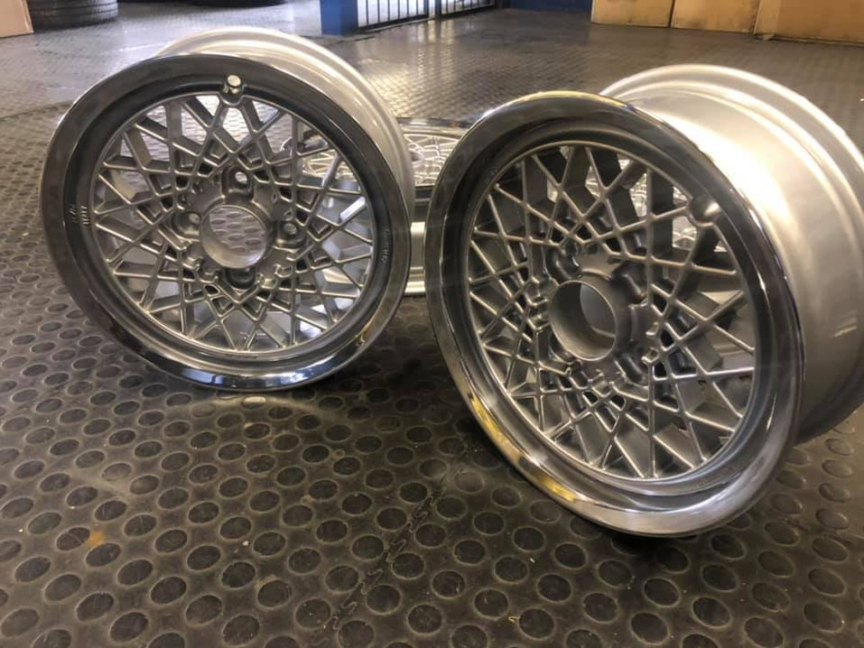"14"" Momo mesh wheels refurbished and polished"