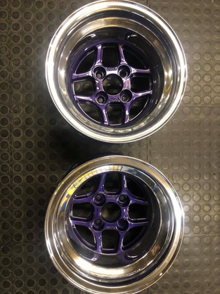 """13""""TOMS racing wheels widened to 10 j on the dish and polished- with a deep purple inner"""