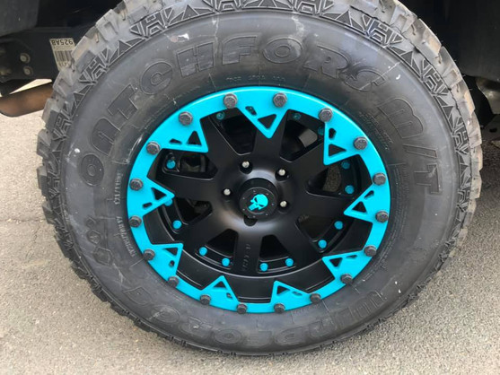 """17"""" A-line wheels- with tinted custom bead locks fitted"""