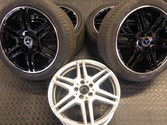 "18""Mercedes wheels tinted in gloss black"