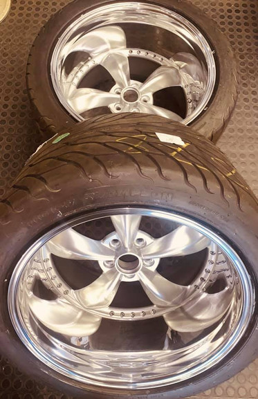 """20"""" American racing wheels -Rear wheels are widened from 10j wide to 15j wide - centres refurbished in chrome silver and dishes polished"""