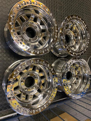 "off-road 17"" wheels with bead locks done in hi shine"