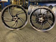 old school bike wheels brought back to life with diamond cut spokes high polished lip and a gloss black
