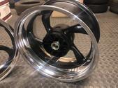 Yamaha bike wheels done in satin black with polished dish