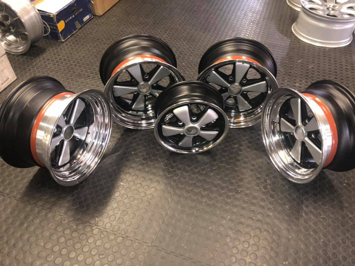 """Porsche 17"""" split rims refurbished in 2 tone silver and black and in Matt finish- with a Hi - shine dish - and a 15"""" for a spare wheel"""
