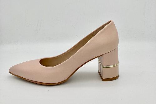 Brenda Zaro Pink Leather Block Heel Court. BZ102