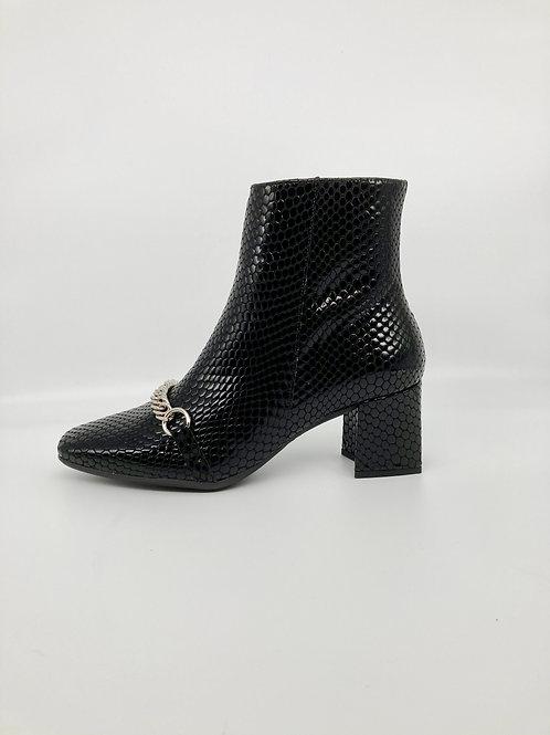 Wonders Black Patent Snake Skin Ankle Boot, W007