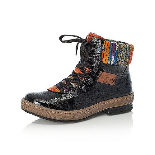 Rieker Black high shine boot. R026